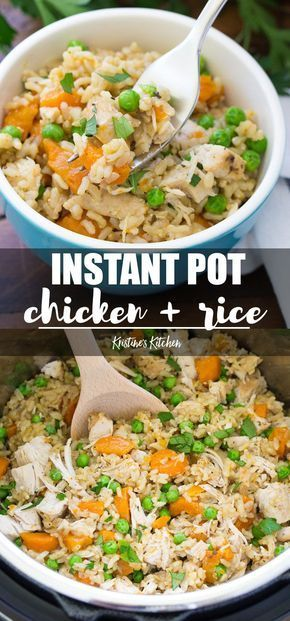 Easy Instant Pot Chicken and Rice is a family dinner favorite. Brown rice, chick...