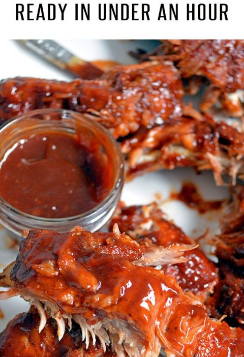Easy Instant Pot Ribs are ready in under an hour! Fall-off-the-bone tender ribs ...