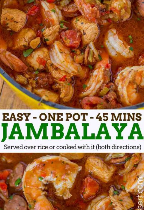 Easy Jambalaya made with Chicken, Shrimp and Andouille Sausage in under 45 minut...