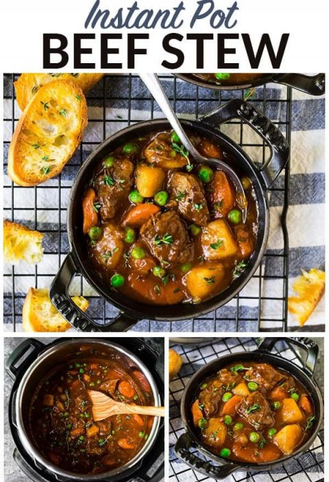 Easy, healthy Instant Pot Beef Stew. Fall-apart tender beef in the most flavorfu...
