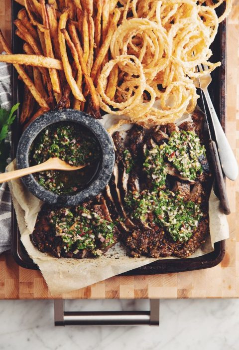 Grilled portobello steaks with chimichurri & onion strings