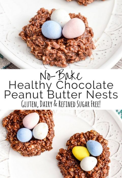Healthy No-Bake Chocolate Peanut Butter Cookie Nests! Only 8 good-for-you ingred...