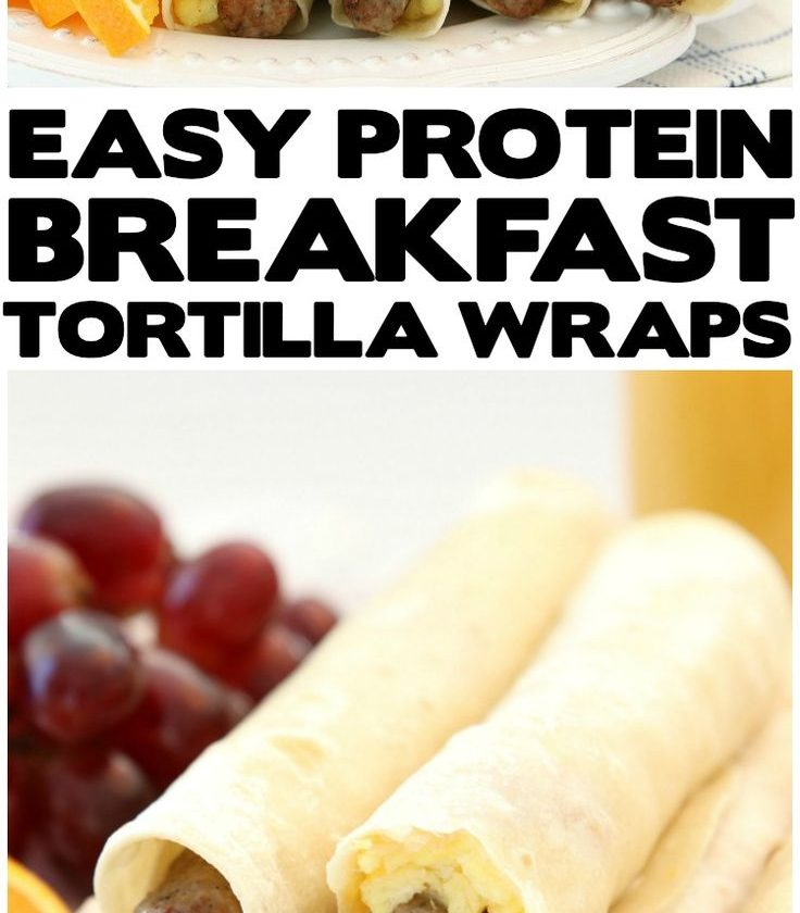 High Protein Breakfast Wraps made with turkey sausage, eggs and cheese wrapped i...