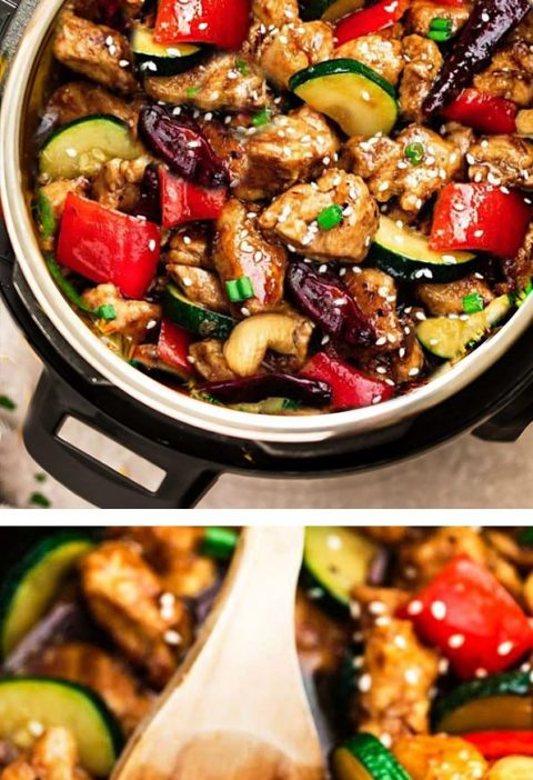 Instant Pot Kung Pao Chicken – the perfect easy pressure cooker recipe to curb...