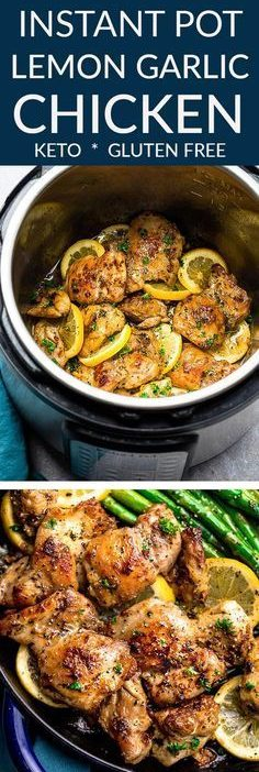 Instant Pot Lemon Garlic Chicken - the perfect low carb & keto friendly meal for...