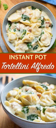 Instant Pot Tortellini Alfredo with chicken and spinach is so amazingly flavorfu...