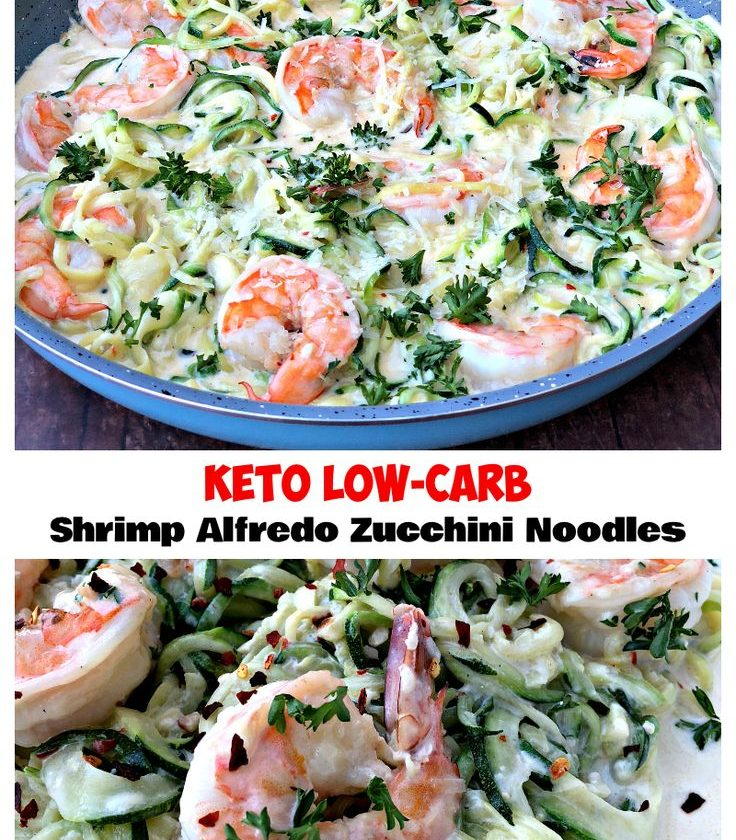 Keto Low-Carb Creamy Garlic Shrimp Alfredo Zucchini Noodles (Zoodles) is a quick...