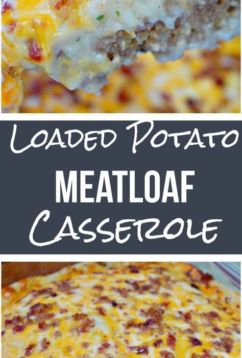 Loaded Potato Meatloaf Casserole is an easy dinner recipe. This ground beef cass...