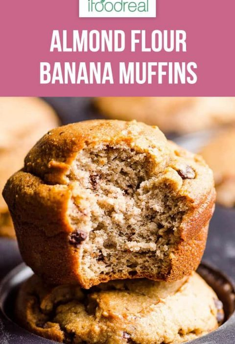 Low carb and gluten free Almond Flour Banana Muffins Recipe that is entirely sug...