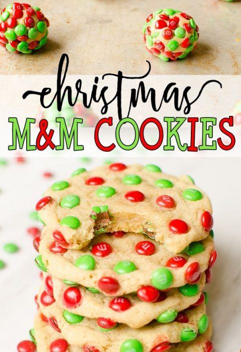 M&M Christmas Cookies are a delicious, chewy vanilla cookie covered in Mini Holi...