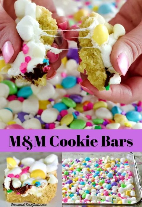 M&M Cookie Bars with white chocolate, marshmallows and sprinkles. delicious East...