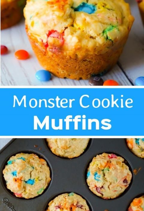 Monster Cookie Muffins are an easy breakfast or snack recipe made with cake mix....