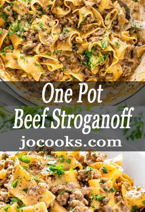 One Pot Beef Stroganoff is a simple weeknight meal. With mushrooms and beef in a...