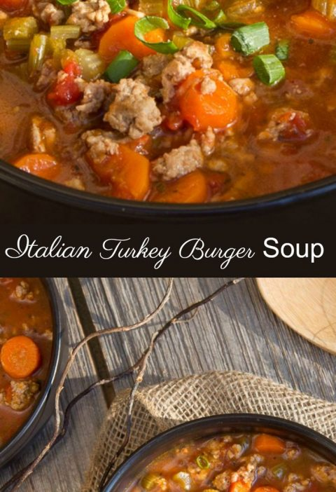One of my favourite soup recipes Italian Turkey Burger Soup, both healthy and he...