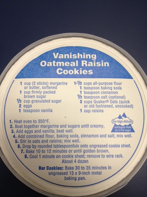 Quaker Oatmeal Cookie recipe which is included in the box lid.   For GF... Groun...