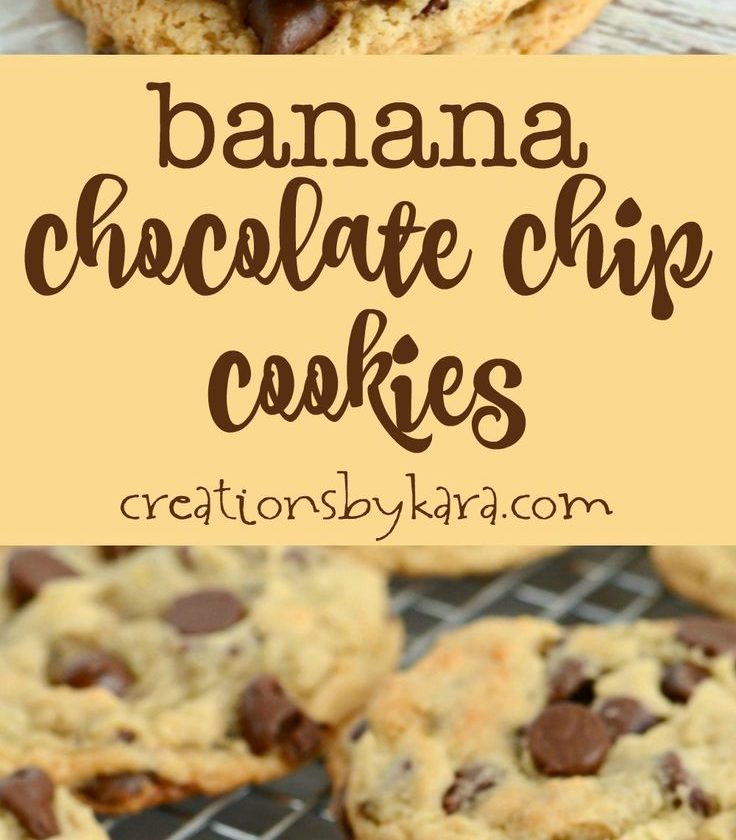 Recipe for the best chewy banana chocolate chip cookies. They are egg-free, and ...