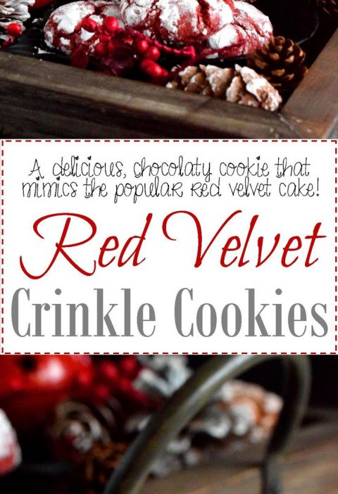 Red Velvet Crinkle Cookies - A delicious red cookie dough is rolled into powdere...