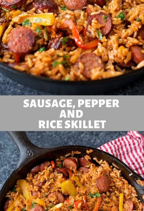 Sausage, Papper And Rice Skillet