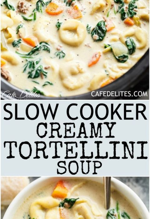 Slow Cooker Creamy Tortellini Soup is pure comfort food, loaded with vegetables,...