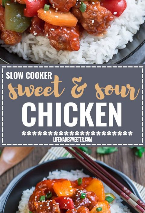 Slow Cooker Sweet and Sour Chicken is the perfect homemade takeout dish made wit...