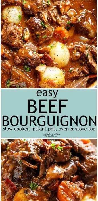 Tender fall apart chunks of beef simmered in a rich red wine gravy makes Julia C...