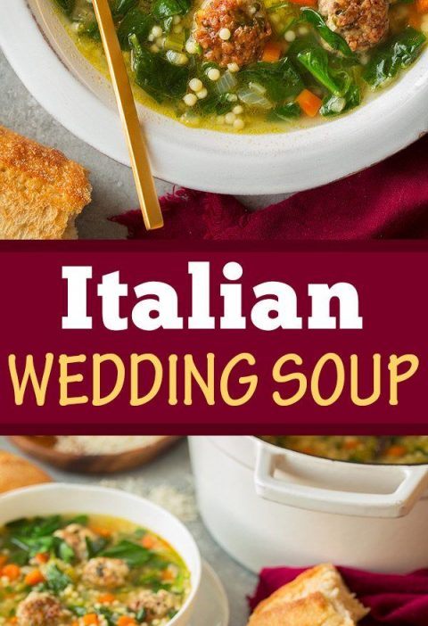 The BEST Italian Wedding Soup! Filled with homemade browned meatballs, fresh veg...