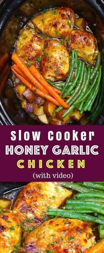The easiest, most unbelievably delicious Slow Cooker Honey Garlic Chicken With V...