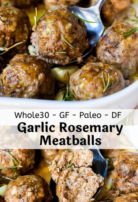 TheseGarlic Rosemary Whole 30 Meatballs are an easy, nutritious and versatile ...
