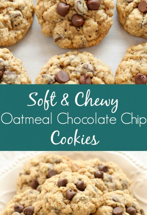 These Oatmeal Chocolate Chip Cookies are packed with oats, chocolate chips, and ...