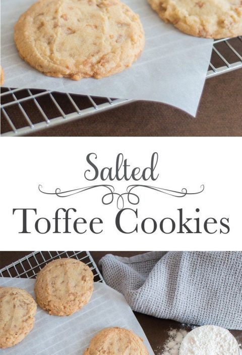 Thick and chewy vanilla cookies loaded with tiny bites of salted toffee and roas...