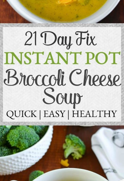 This 21 Day Fix broccoli cheese soup {Instant Pot   Stovetop} is made without an...
