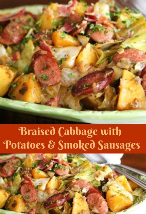 This Braised Cabbage With Potatoes And Smoked Sausages proves food doesn't h...
