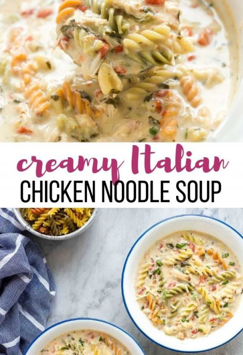 This Creamy Italian Slow Cooker Chicken Noodle Soup is even better than the orig...