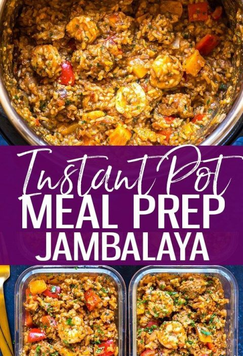 This Easy Instant Pot Jambalaya is filled with turkey sausage, shrimp, rice and ...