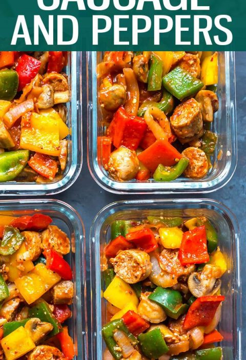This Meal Prep Sausage Peppers and Onions Skillet with bell peppers, mushrooms a...