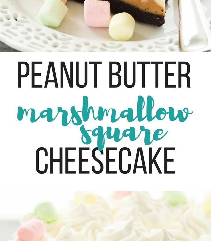 This No Bake Peanut Butter Marshmallow Square Cheesecake is a fun twist on a cla...