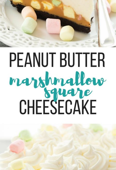 This No-Bake Peanut Butter Marshmallow Square Cheesecake is a fun twist on a cla...