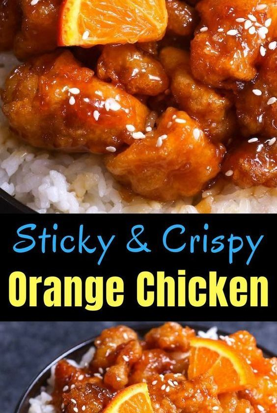 This Orange Chicken has crispy chunks of tender chicken covered in a tangy orang...