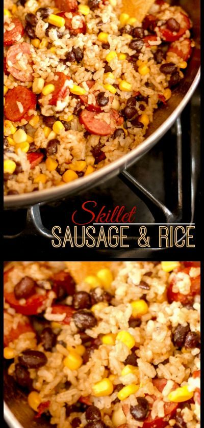 This Skillet Sausage and Rice is a fast and delicious dinner recipe for busy nig...