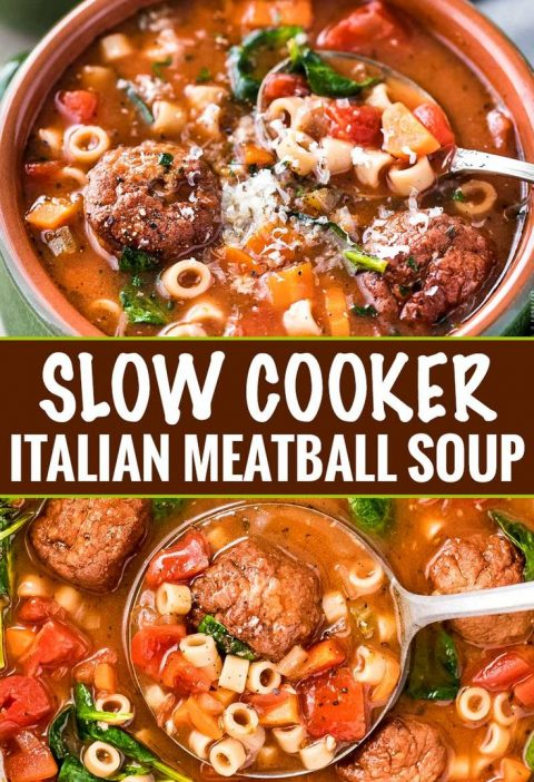 This Slow Cooker Italian Meatball Soup is hearty, easy, and incredibly satisfyin...