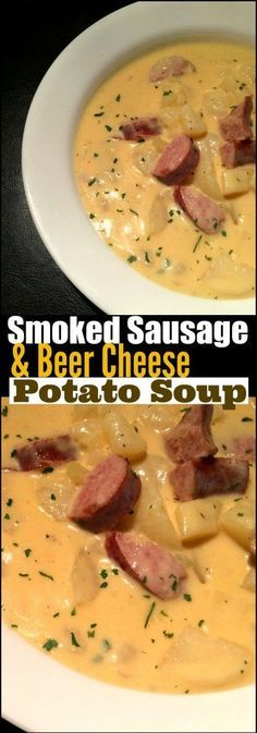 This Smoked Sausage & Beer Cheese Soup is PURE southern comfort in a bowl!  Bonu...