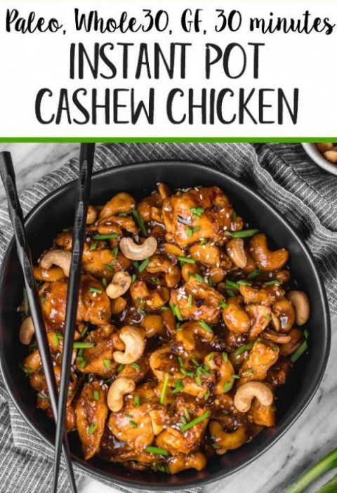 This Whole30 instant pot cashew chicken tastes like the familiar Chinese takeout...
