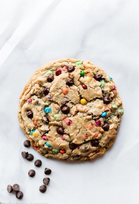This recipe makes ONE giant monster cookie! XXL peanut butter oatmeal cookie wit...