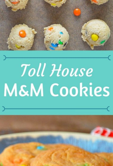 Toll House M&M Cookies on a plate with cookie dough on a cookie sheet