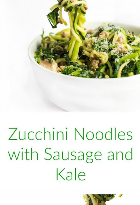 Zucchini Noodles with Sausage and Kale