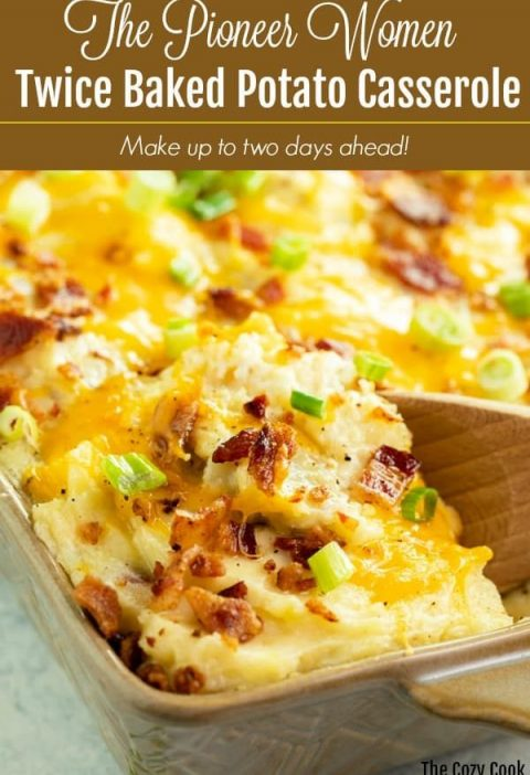 This twice baked potato casserole is loaded with creamy mashed potatoes and topp...