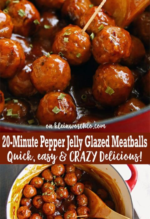 20-Minute Pepper Jelly Glazed Meatballs are the easiest appetizer recipe for you...