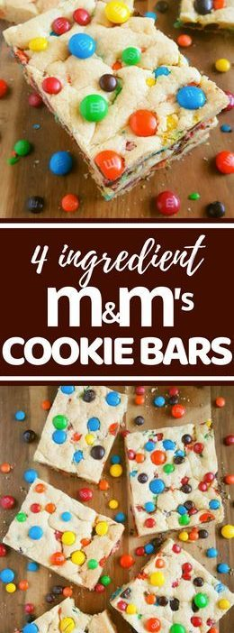 4 Ingredient Chewy M&M's Cookie Bars