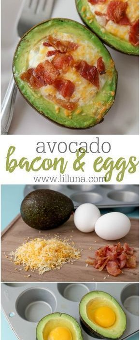 Avocado Bacon and eggs - one of our favorite breakfast recipes. They're topp...