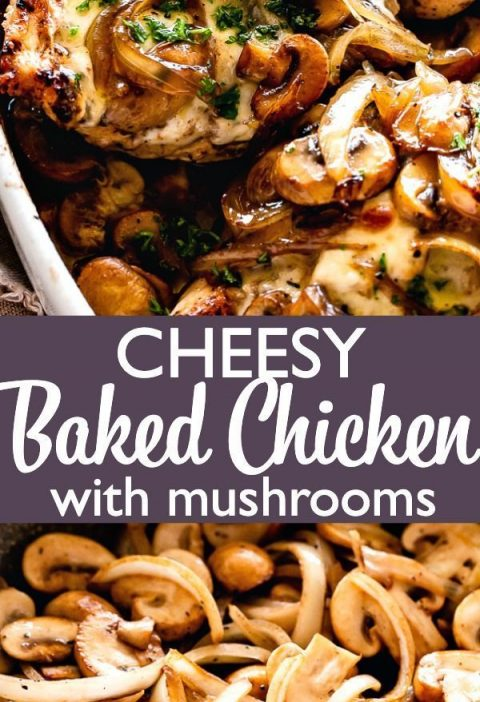 Cheesy Baked Chicken with Mushrooms - Low carb recipe for Baked chicken breasts ...